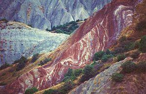 Orography of Azerbaijan - The Candy Cane Mountains near Altıağac.