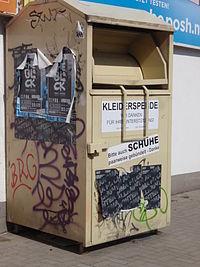 Altkleider-Container, OKA Textil GmbH, Farbe: gelblich