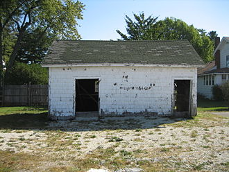Ice house (building) - A c. 1930 commercial icehouse near Ambler's Texaco Station in Dwight, Illinois, United States