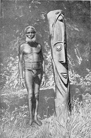 Ambrym - An Ambrym woodcarver, circa 1925
