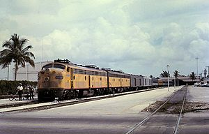 Miami station (Amtrak) - An Amtrak train at the ex-SAL station in 1972