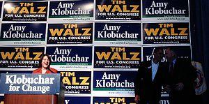 United States Senate election in Minnesota, 2006 - Klobuchar with Barack Obama and Tim Walz.