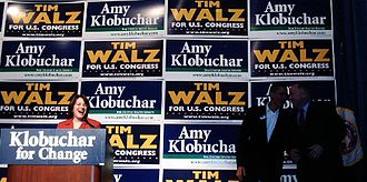 United States Senate elections, 2006 - Klobuchar with Barack Obama and Tim Walz.
