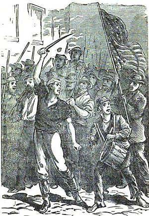 Pittsburgh railroad strike of 1877 - Mob marching to the scene of the action