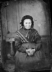 An old woman sitting