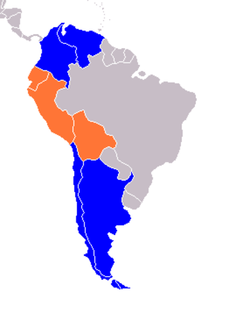 Andean states - Orange= Geographically and politically Blue= Geographically
