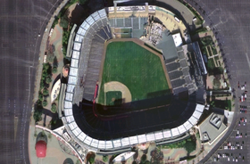 Vue satellite du Angel Stadium of Anaheim