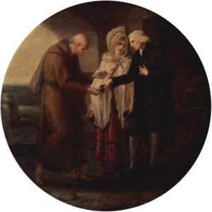 "A Sentimental Journey Through France and Italy - The Monk of Calais (1780) by Angelica Kauffman, depicting Rev. Yorick exchanging snuffboxes with Father Lorenzo: ""having a horn snuff box in his hand, he presented it open to me.—You shall taste mine—said I, pulling out my box and putting it into his hand."""