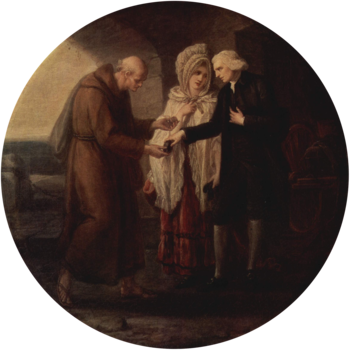 A charitable couple giving money to a poor monk.