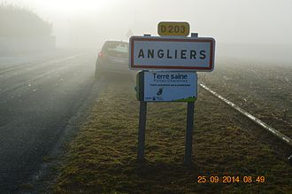 Angliers, Charente-Maritime - Entry sign to Angliers (in fog)