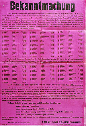 General Government - Announcement of the execution of 60 Polish hostages and a list of 40 new hostages taken by Nazi authorities in Poland, 1943