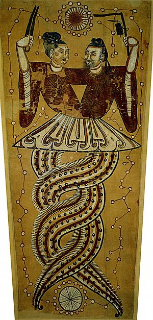 Chinese mythology - Nüwa and Fuxi represented as half-snake, half-human creatures.
