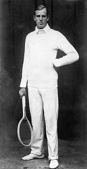Anthony Wilding - Anthony Wilding dressed in tennis attire, ca 1912