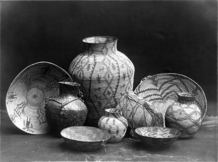 Various Apache containers: baskets, bowls and jars. The women-made baskets could hold heavy loads and were made mainly from yucca or willow leaves or juniper bark. Apache-still-life restored-2.jpg