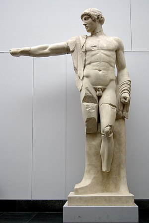 Severe style - Cast of Apollo from Temple of Zeus, Olympia, original attributed to the Olympia Master, cast in the MFA Munich