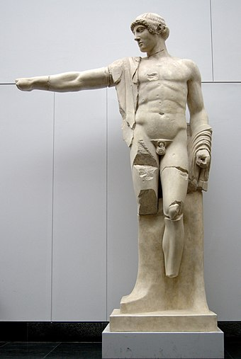 Apollo, West Pediment Olympia. Munich, copy from original, 460 BCE at the Temple of Zeus, Olympia, Greece. Apollo west pediment Olympia copy MFA Munich.jpg