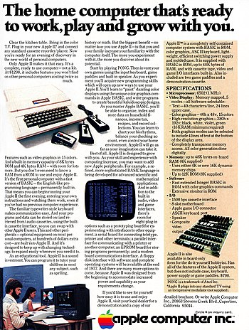 An Apple II advertisement from the December 19...