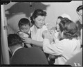 Arcadia, California. Evacuees of Japanese ancestry are being vaccinated by fellow evacuees upon arr . . . - NARA - 536005.tif