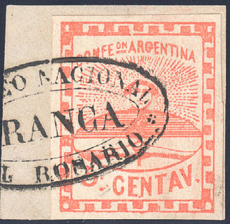 Postage stamps and postal history of Argentina - Argentina 1858, first federal stamp.