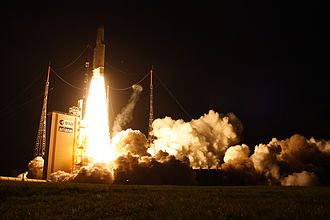 Launch at the Kourou Space Center in French Guiana Ariane 5ES liftoff from ELA-3.jpg