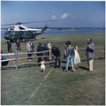 Arrival of President at Hammersmith Farm. President Kennedy, John F. Kennedy, Jr., Hugh D. Auchincloss, Assistant... - NARA - 194212.tif