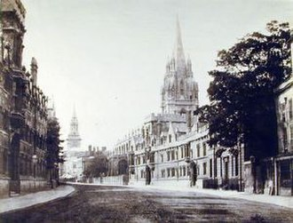 High Street, Oxford - 19th century photograph of the High Street looking west with University College on the left and the spires of the University Church of St Mary the Virgin and All Saints Church in the distance.