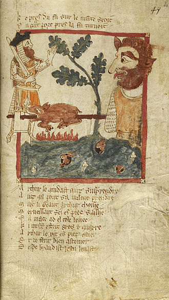 Roman de Brut - Arthur finds a giant roasting a pig. (British Library Egerton MS 3028, fol. 49)