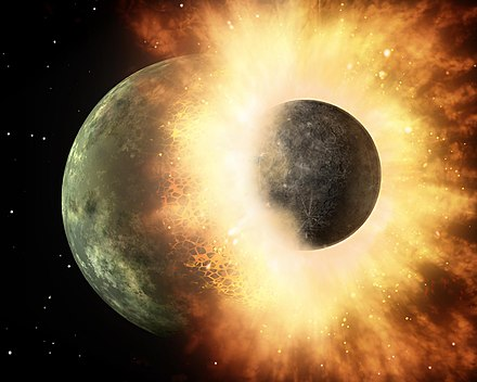 Artist's depiction of a collision between two planetary bodies. Such an impact between the Earth and a Mars-sized object likely formed the Moon. Artist's concept of collision at HD 172555.jpg