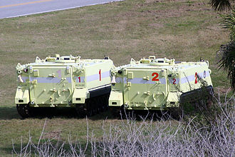 Kennedy Space Center Launch Complex 39 - M113 armored personnel carriers parked near LC-39