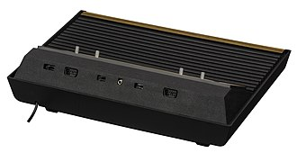 Atari joystick port - The ports first appeared on the back of the 2600.  On the first CX2600 models they were only approximately 3 inches apart, but on this later CX2600A model they are widely separated.