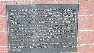 Atherton War Cemetery - Plaque, 2016