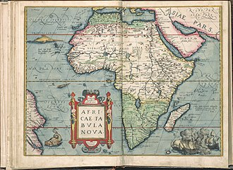 Prime meridian - 1571 Africa map by Abraham Ortelius, with Cabo Verde prime meridian