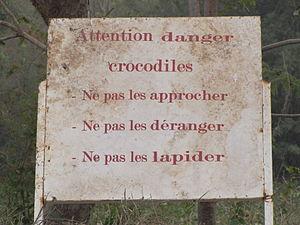 Crocodile attack - Crocodile warning sign, Urban Park, Ouagadougou, Burkina Faso
