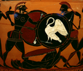 Attic Black-figure Neck Amphora Two Warriors Fighting Over a Corpse cropped lightened.png