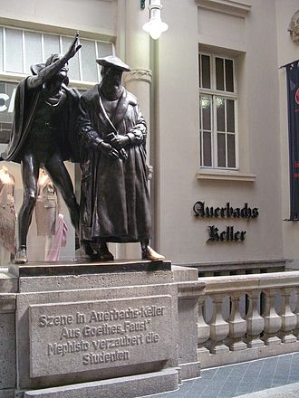 "Goethe's Faust - Sculpture of Mephistopheles bewitching the students in the scene ""Auerbachs Keller"" from Faust, at the entrance of what is today the restaurant Auerbachs Keller in Leipzig."