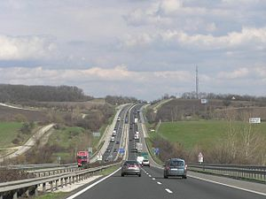 Highways in Hungary - M1 between Vértes and Gerecse Mountains.