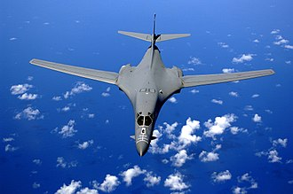 Rockwell B-1 Lancer - A B-1B flying over the Pacific Ocean.