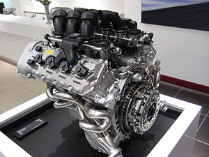 BMW S65 - S65 engine with the top plastic air plenum removed to reveal the 8 individual throttle bodies.