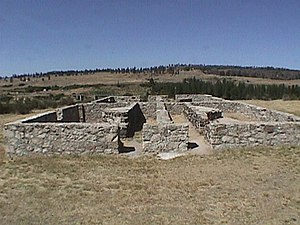 National Register of Historic Places listings in Lincoln County, Washington - Image: BOQ foundation Fort Spokane WA NPS
