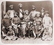 Bahadur Khanji III, Nawab of Junagadh, and state officials, 1880s