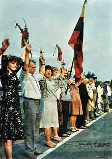 Baltic Way 1989 peaceful demonstration in the form of a human chain