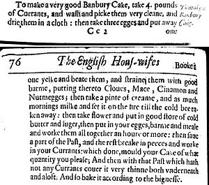 The English Huswife - Gervase Markham's recipe for Banbury Cake, in The English Huswife, 1615