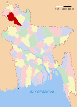 Location of Dinajpur in Bangladesh