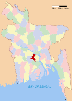 Location of Madaripur in Bangladesh