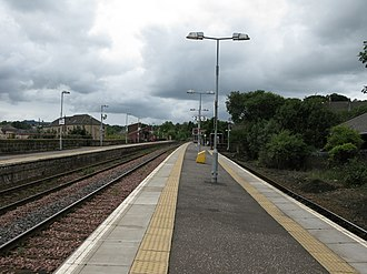Barrhead railway station - View from Platforms 2 and 3 at Barrhead railway station, looking towards Kilmarnock