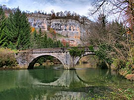 The bridge over the Dessoubre river in Battenans-Varin