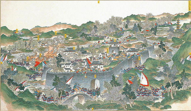painting of the later 1857 Battle of Tongcheng during the Taiping Rebellion