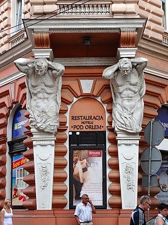 "Hotel ""Pod Orlem"" in Bydgoszcz - Atlantes on the corner of hotel facade"