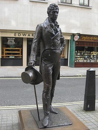 Beau Brummell - 2002 statue of Beau Brummell by Irena Sedlecká in London's Jermyn Street