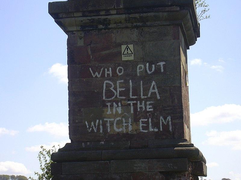 File:Bella graffiti.jpg. Graffiti on the Wychbury Obelisk.  Image from http://en.wikipedia.org/wiki/File:Bella_graffiti.jpg